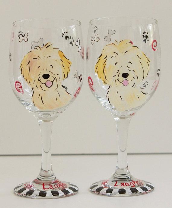 labradoodle goldendoodle  Wine Glasses