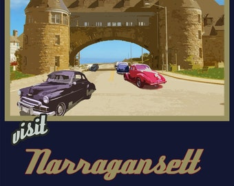 Wall Art, Old Style Narragansett Travel Poster