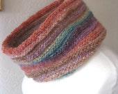 Muted Rainbow Cowl - Rustic Texture Wool Angora and Silk Chunky Knit -  Peach Aqua Lavender Khaki : Spring Fashion Winter Accessories