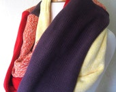 RESERVED FOR CRIS Infinity Scarf Upcycled Cotton  : Colorblock Extra Long  - Purple Red Orange Yellow Chunky