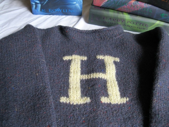 Boy's Harry Potter Sweater- Handknit, Embroidered Charcoal with Yellow H  (Size S)
