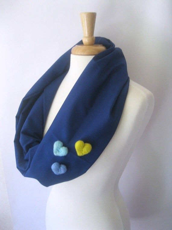 Royal Blue Infinity Scarf - With Felt Heart Embellishments : Funky Eclectic Hipster