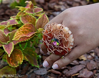 Round Copper Stone Ring