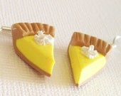 Lemon and Cream Pie Polymer Clay Earrings - EmsJewelry