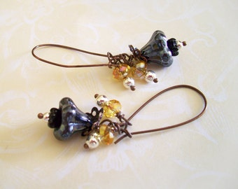 EARRINGS with Gun Metal Bell FLOWERS, Silver Pearls, Yellow Crystal Beads, and Black Flower Beads