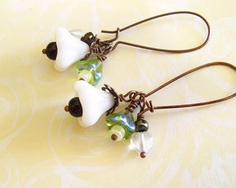 Dangle Earrings with WHITE Bell FLOWERS and Green Baby Bell Flowers