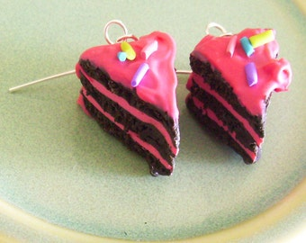Chocoloate Cake Slices with Pink Frosting and Sprinkles Polymer Clay Earrings
