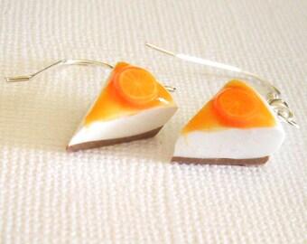 Orange Cheesecake Polymer Clay Earrings, Mini Polymer Food Earrings, Pies and Cakes