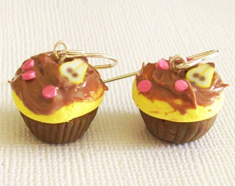 Chocolate Pear Cupcake Earrings, Polymer Mini Food Earrings with Chocolate Frosting and Pink Sprinkles, Clay Cakes