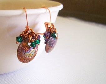 Earrings Copper, Purple, and Green Dangle Earrings, Copper Coin Chandelier Earrings with Swarovski Crystals, Gift For Mom, Party Earrings