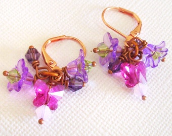 Purple and Pink Dangle Earrings, Pink Butterfly Bead Earrings with Purple Flowers and Swarovski Crystals, Birthday Gift, Graduation