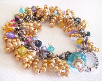 Charm Bracelet Gold and Rainbow Beaded Pretty Petals with Lampwork Focal Believe charm