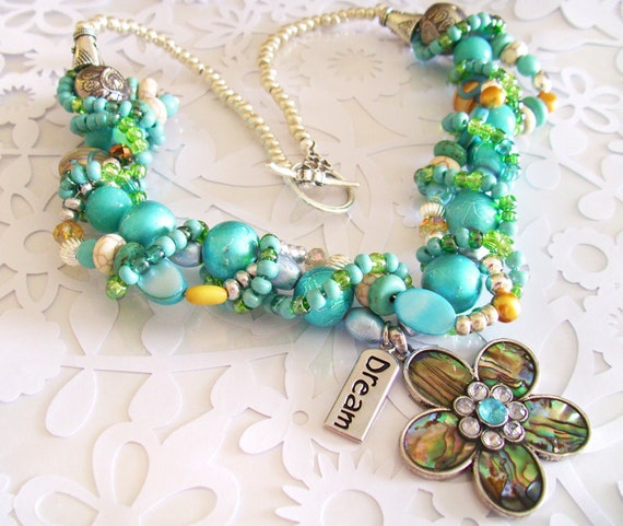 Statement Necklace with Mother of Pearl focal with Dream charm with EARRINGS with Teal, Gold, and Blue Beads