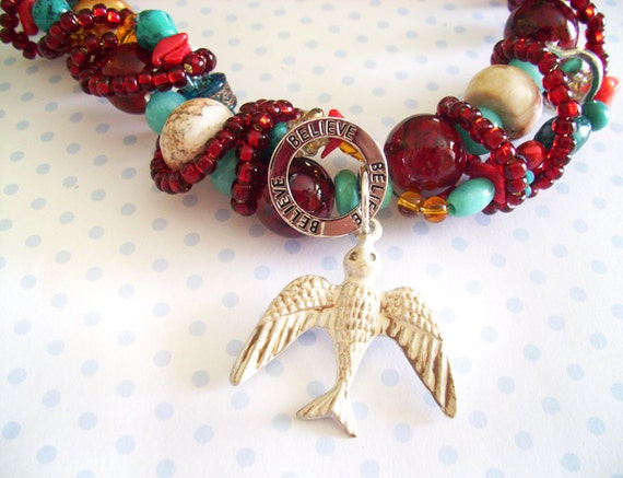 Statement Necklace Antiqued White Sparrow with Believe Focal, Red, Teal, and Tan Beads and Various Other Beads Necklace w/matching earrings