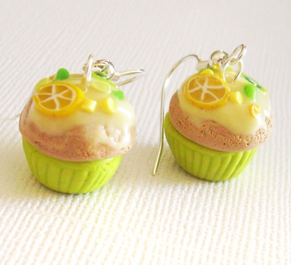 RESERVED-- Vanilla Lemon Kiwi Cupcake Earrings, Polymer Mini Food Earrings with Yellow Frosting and Fruit Sprinkles, Mini Cakes