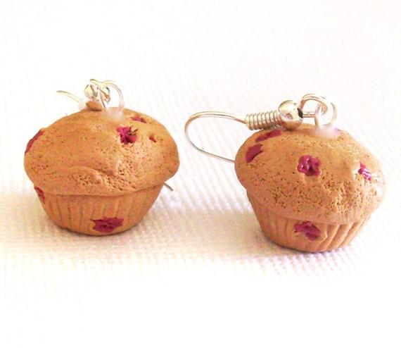 Muffin Earrings, Cranberry Muffin Clay Mini Food Earrings, Cute Muffins, Breakfast Earrings