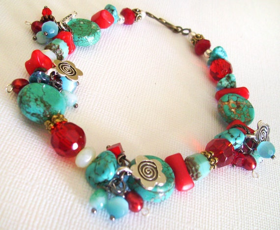 Bracelet with Fringe Charms Bright Red and Stone Turquoise Beads and Flower Charms 7 inches plus extender chain