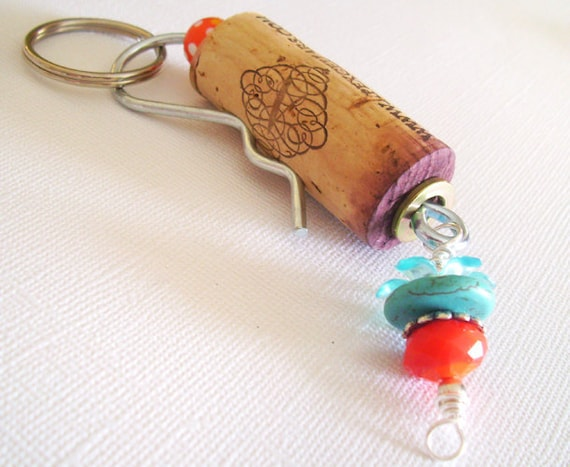 Wine Cork Keychain Apex Cellars Wine Cork with Blue and Orange Charms, Flower Charms, Turquoise and Scarlet Wedding favors