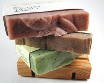 Mix and Match Soaps, Your Choice 3 Handmade Cold Process Soaps with Soap Deck