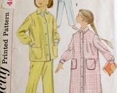 Vintage Kids Sewing Pattern Girls 10 - 50s  Pajama Pjs Nightgown