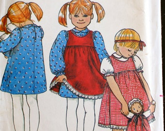Girls 6X outfit Fabric Doll and Clothes Vintage Sewing Pattern - Butterick 3993 Pinafore Blouses Skirt baby Romper - B1
