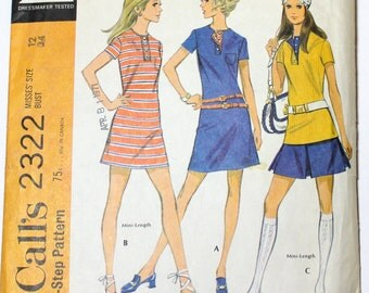 Vintage 1970s Sewing Pattern McCall's 2322 - Size 12 34 bust Mod Sporty Dress  mini Skirt and Top