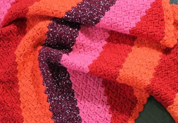Vintage Baby Blanket Handmade Crochet  - Wool Red Pink Orange Boy Girl - B6