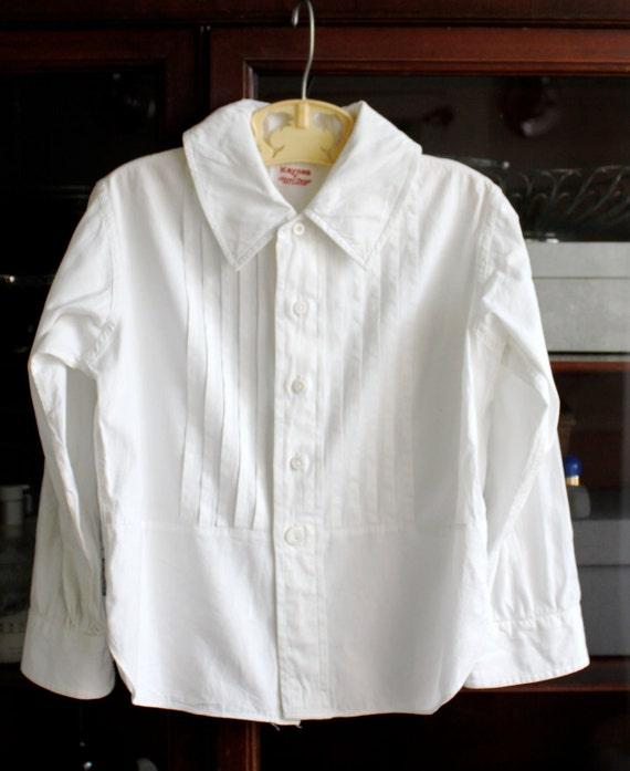 Boys 7 Tuxedo Shirt Vintage - 1920s White Cotton - Ring Bearer