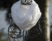 Stark White Wide Sheer Plaid Linen GAUZE INFINITY Scarf  by The Accessories Nook