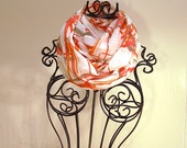 White With Abstract Criss Cross Lines in Tangerine, Salmon Pink, and Grey Sheer LINEN INFINITY Scarf by T.A.N