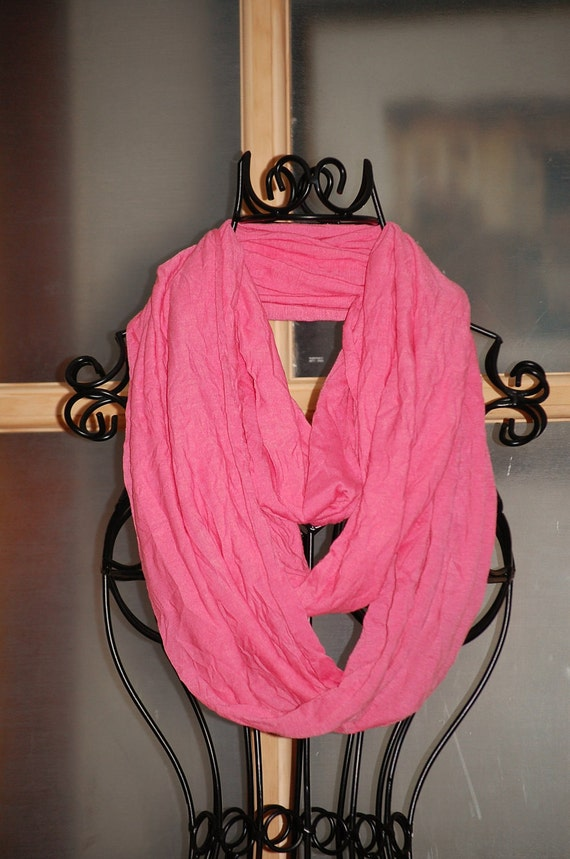 Salmon Pink Crinkle Jersey Knit Infinity Scarf