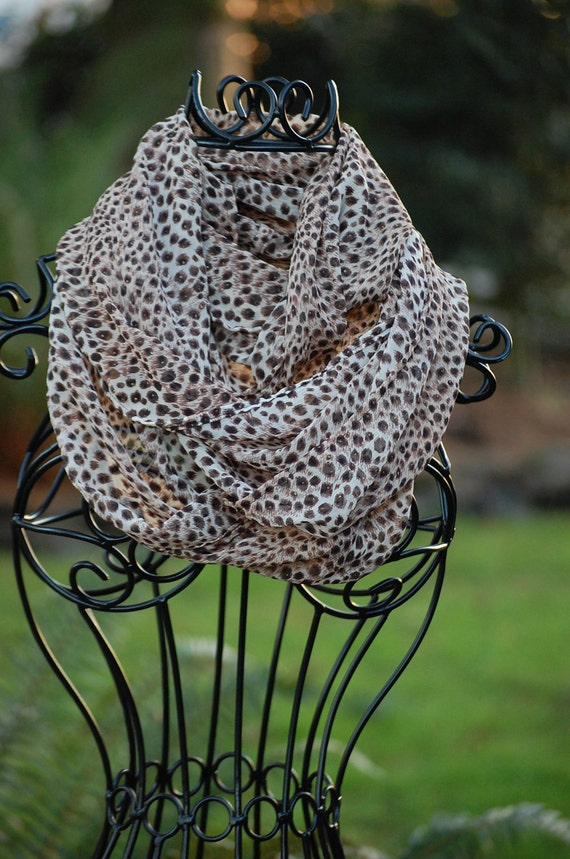 Cheetah Print Extra Wide Sheer Crinkle Chiffon Infinity Scarf  ONLY ONE