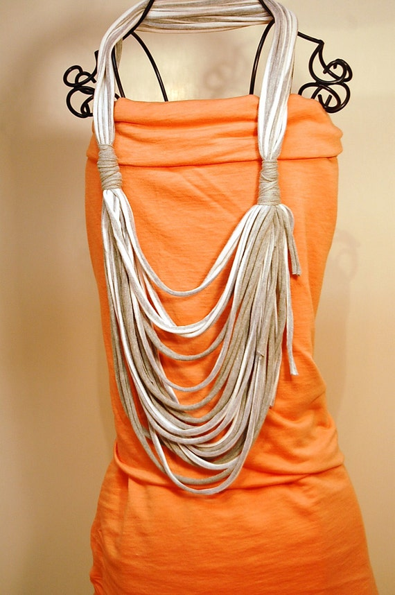 Grey and  White JERSEY STRANDS Infinity Scarf Necklace