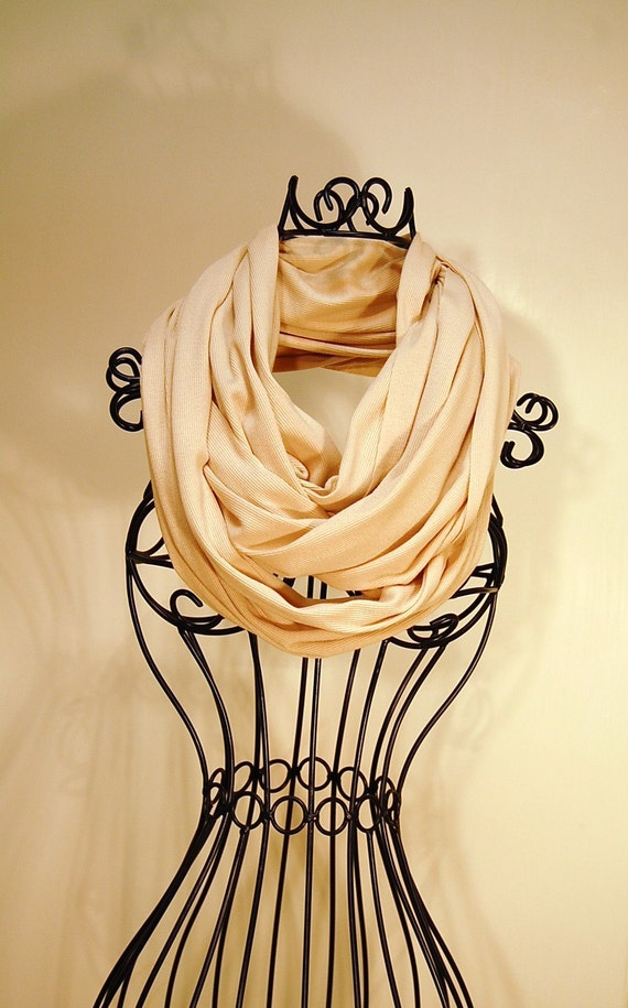 Light Tan Ribbed Unisex JERSEY INFINITY Scarf  by The Accessories Nook