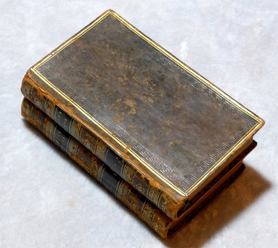 1813 Lord Byron Poetical Works 2 Leather Volumes, The Giaour, Vampires, Scarce, Antique Vintage