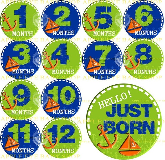 Baby Month Milestone Stickers FREE Baby Month Sticker Baby Monthly Stickers Baby Boy Bodysuit Stickers Photo Props Baby Sailor Blue Green