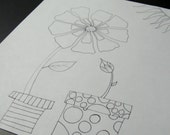 Printable coloring page - Flowers in Pots - One page