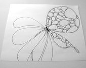 Printable coloring page - Butterfly on Flower - one page