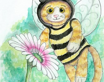 8x10 giclee fine art print of Gingey Bee watercolor illustration