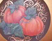 """Thanksgiving autumn fall holiday season, hand-painted, decorative, charger style plate, harvest pumpkins w/ a 1 3/4"""" golden, copper border."""