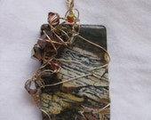 Old World Map - Wire Wrapped Silver Leaf Jasper Pendant