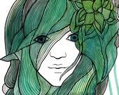 Ocean Goddess Art Print - 4x6 Sea Foam Green Blue Turquoise Painting- Gouache and Ink