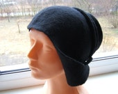 Black hand felted hat with lacies