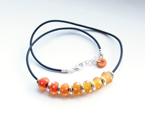 Handmade Lampwork Glass Bead Necklace- 'The Setting Sun', sterling silver and leather cord