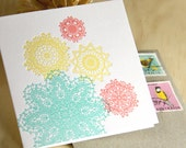 Spring doily Valentine's Day, Mother's Day, Letterpress pastel card in turquoise blue - mint green, sunshine yellow and peach - coral pink