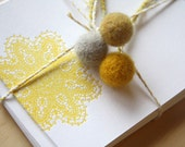 Spring, Easter, Note card Letterpress Sunshine yellow Doily notelets notecards with envelopes x4 made in Australia. Yellow grey and mustard.