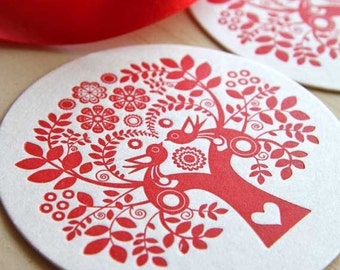 Scandinavian red tree of life paper coasters, nordic, hostess gift, Christmas, Letterpress, Folk Style, Red set of six, table decoration