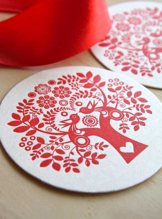 Scandinavian red tree of life paper coasters, nordic, hostess gift, Christmas, Letterpress, Folk Style, Red, table decoration set of twelve