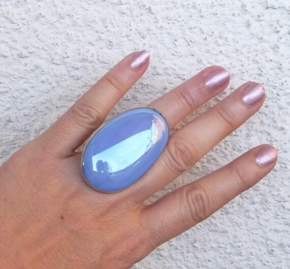 Blue ring, big, Huge, Adjustable, sky blue, Reserved for B