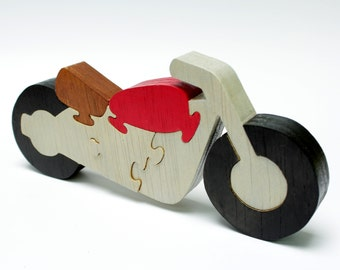 Motorcycle Decor, Wood Puzzle and Motorcycle Toy